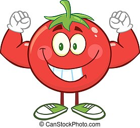 Strong Tomato Character Flexing