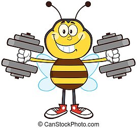 Smiling Bee With Dumbbells - Smiling Bee Cartoon Mascot...