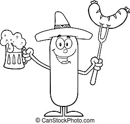 Black And White Mexican Sausage Cartoon Character Holding A...