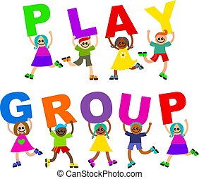 play group - A group of happy and diverse children holding...
