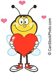 Bee Holding Up A Red Heart - Smiling Bee Cartoon Mascot...