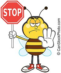 Angry Bee Holding A Stop Sign - Angry Bee Cartoon Mascot...