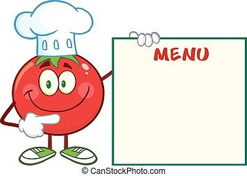 Smiling Tomato Chef Character - Smiling Tomato Chef Cartoon...