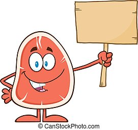 Steak Holding A Blank Wooden Sign - Steak Cartoon Mascot...