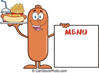 Sausage Cartoon Character Carrying A Hot Dog, French Fries...