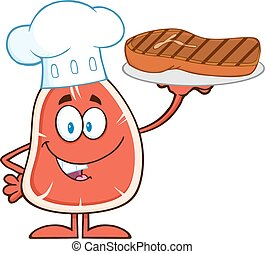 Chef Steak Cartoon Mascot Character Holding Up A Platter...