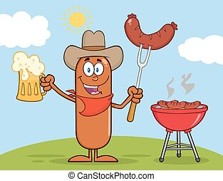 Cowboy Sausage Cartoon Character Holding A Beer And Weenie...