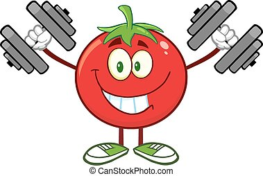Tomato Training With Dumbbells - Smiling Tomato Cartoon...