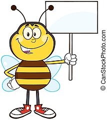 Bee Cartoon Mascot Character Holding Up A White Blank Sign