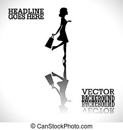 Shopping girl silhouette - Vector fashion shopping girl...