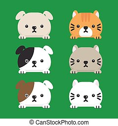 Set of cute cats Vector illustration