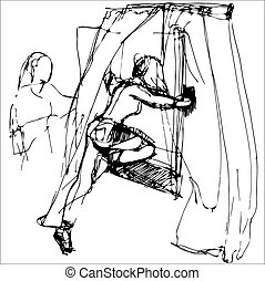 sketch of a girl getting out through the window - vector...