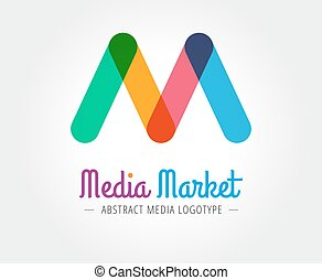 Abstract M character vector logo template for branding and...