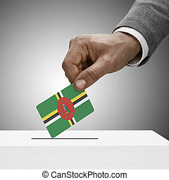 Black male holding flag Voting concept - Dominica