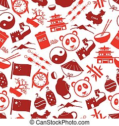 China theme color icons seamless pattern eps10