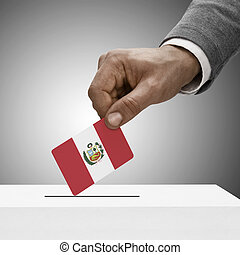 Black male holding flag Voting concept - Peru