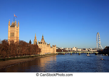 Houses Of Parliament - Cityscape of the River Thames showing...