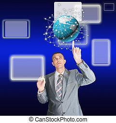 global, conceito, tecnologia, negócio,  Internet