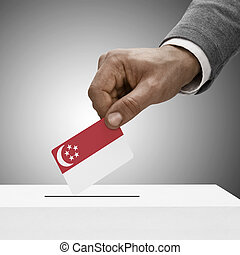 Black male holding flag Voting concept - Singapore