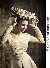 lady with bizarre easter hat - stylish brunette woman with...