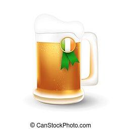 Mug of beer and Irish flag