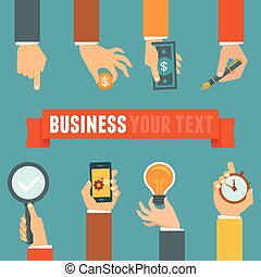 Vector business and management concept in flat style -...