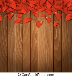 Petals of red rose on wooden background