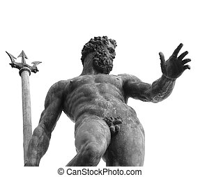 Bologna, Italy, naked Neptune with Trident - Bologna, Italy,...