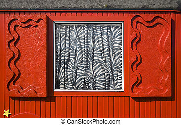 Red circus trailer - Window with shutters on a red circus...