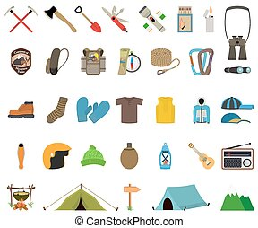 Mountain hiking and climbing vector icon set No transparency...