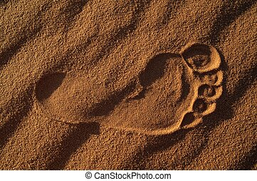 Footprint mark on the deserts sand