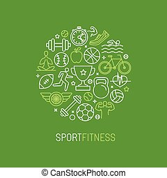 Vector linear sport and fitness logo design template -...