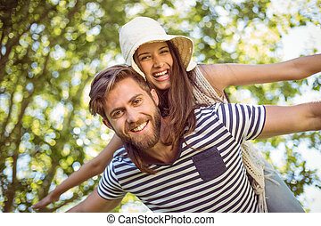 Hipster couple having fun together - Hipster couple having...