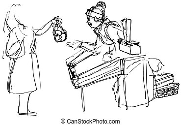 sketch of a woman at the market buying apples