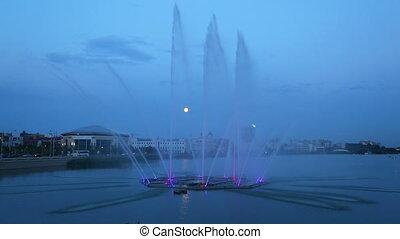 Fountain on the lake Kaban at night in Kazan, Russia -...