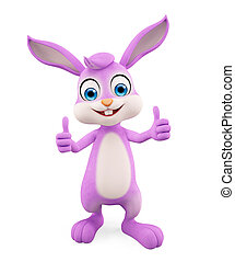 Easter Bunny with thumbs up pose - 3d illustration of Easter...