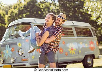 hipster, pareja, teniendo, diversión, juntos,