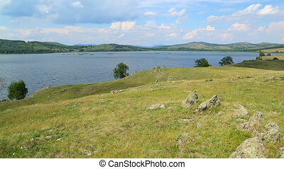 Beautiful landscape with lake between hills - South ural,...