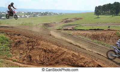 motocross competition on a hilly road - BELORETSK,...