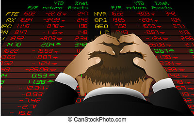 Stockexchange despair - Illustration of a stock broker...