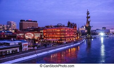 Night view of Moscow - Night view of Peter the Great...