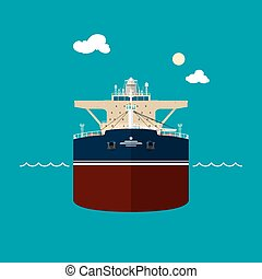 Tanker , front view of a tanker - A tanker (or tank ship or...
