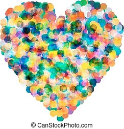 Heart shaped confetti falling down