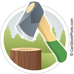 Ax chop wooden log Eps10 vector illustration Isolated on...