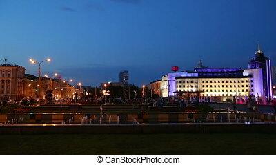 Fountains at night in Kazan, Tatarstan, Russia
