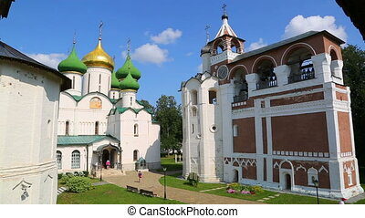 Transfiguration Cathedral and bell tower in Suzdal, Russia -...