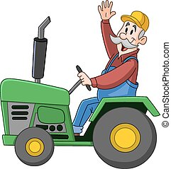 Farmer driving tractor - Smiling farmer driving a tractor...