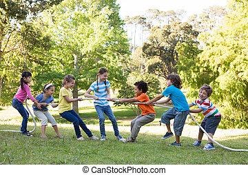 parque, niños, juego