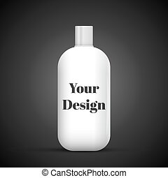 Cosmetic Or Hygiene Grayscale White Gray Chrome Lid Plastic Bottle Of Gel, Liquid Soap, Lotion, Cream, Shampoo. Ready For Your Design