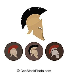 Set of four antique helmets - Colored antique Roman or Greek...